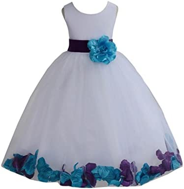 ekidsbridal Wedding Pageant Mixed Petals White Flower Girl Dress Recital Easter Toddler 302t product image