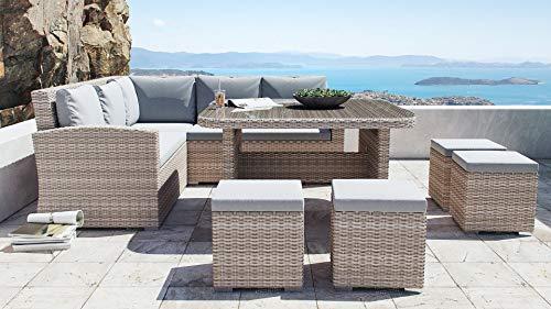 ARTELIA Beach Polyrattan Lounge Ecke Essgruppe - Gartenmöbel-Set Sitzgruppe für Garten, Terrasse und Wintergarten, Esstisch-Set, Rattan Terrassenmöbel Couch Sandfarben