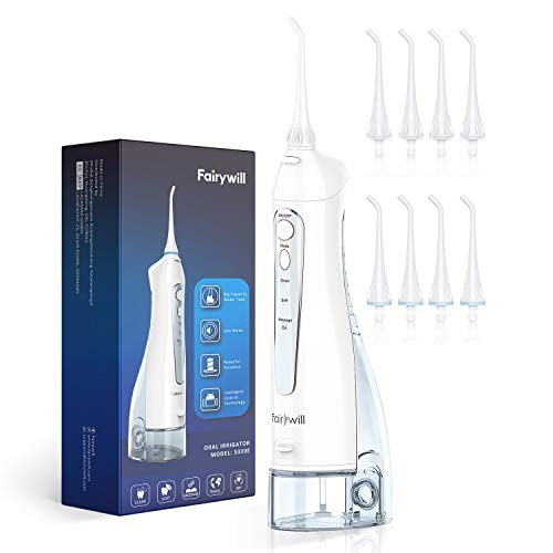 Water Flosser, Fairywill 300ML Cordless Portable Water Pick Teeth Cleaner, 3 Modes and 8 Jet Tips, IPX7 Waterproof, USB Charged for 3-weeks Continuously Use, Dental Oral Irrigator for Travel, Home