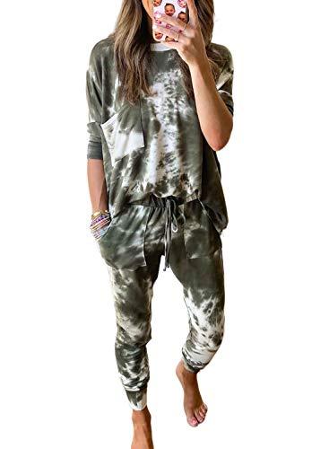 Dokoto Pajamas for Women Winter Lounge Set Tie Dye Print Cotton Pjamas Long Sleeve Tops and Pants Pocketed Sweatsuit Sets Comfy Sleepwear Loungewear Green Medium