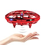 BRAND SET Drones para Niños, Juguete Mini Drone UFO Ultraligero y Portátil, Control Manual Juguete Bola Volador Interactivo de Inducción Infrarrojo, Regalo para niños y Adultos-Rojo