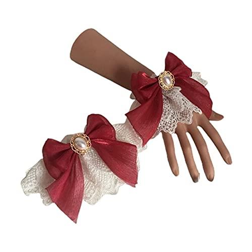 XKMY Lolita - Brazalete de encaje para boda Lolita con doble capa de encaje floral de tul con lazo, pulsera de perlas de imitación (color 6EE407641-R)