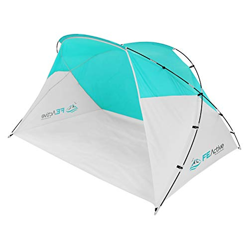 FE Active Pop Up Beach Shelter - Easy Set up Family Beach Tent Outdoor Sun Shelter Half Dome Canopy Tent Adults & Kids Sun Shade for Camping, Hiking, Travel, Backpacking | Designed in California, USA