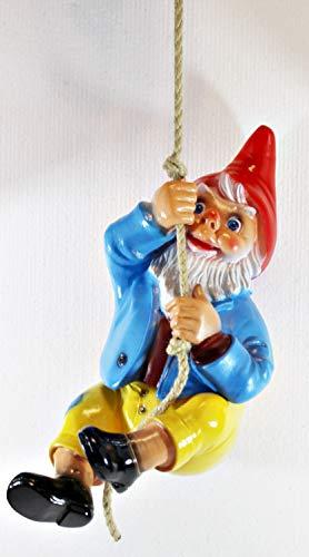RAKSO Gartenzwerg Deko Gartenfigur Zwerg am Seil hängend kletternd H 38 cm ohne Seil aus Kunststoff