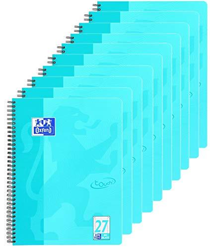 Oxford Touch Collegeblock A4, liniert, 80 Blatt, türkis, 10er Pack