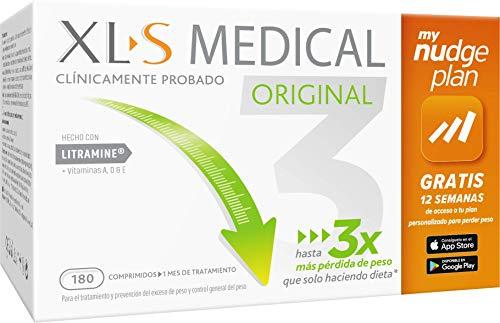 XL-S Medical Captagrasas - Incluye tu plan personalizado Nudge durante 12 semanas - 1 mes de tratamiento (180 comprimidos)