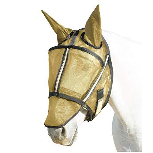 2019 nieuwe vlieg masker met afneembare neus en zacht gaas oren — Beschermt paarden gezicht, neus en oren tegen bijtende insecten en UV-stralen tijdens het toestaan, goud, ontwerp