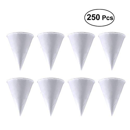 BESTOMZ 250PCS 3.7oz Wegwerfkegel-Wasser-Schalen-Papiertrichter-Schalen-Schnee-Kegel-Schalen - Weiß