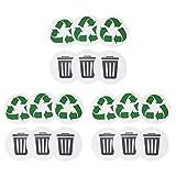 Etiqueta adhesiva para basura, 18 piezas Etiqueta ambiental reciclable Reciclaje de basura Etiqueta autoadhesiva para el hogar Etiqueta impermeable para exteriores Etiquetas adhesivas de PVC con reves