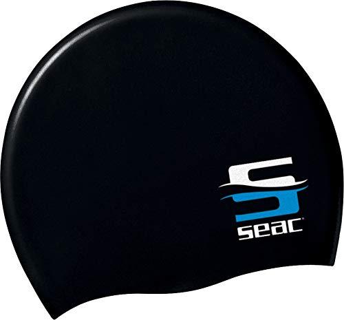SEAC Silicone Cuffia per Nuoto in Piscina per Uomo e Donna, Nero, Taglia Unica
