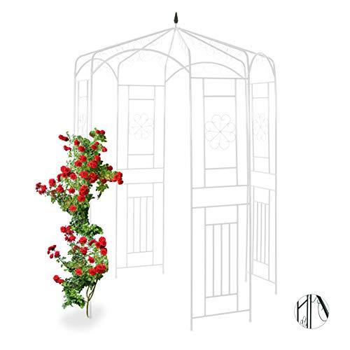 Relaxdays, weiß Rosenpavillon Metall, Rankhilfe für Kletterpflanzen, Garten, dekorativer Rankpavillon, HBT 250x160x160cm