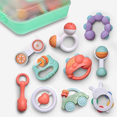 GizmoVine 10pcs Rassel Baby , Greifling Baby Spielzeug, Kleinkinder Neugeborene Glocken Spielzeug Schütteln Musikalisches Spielzeug mit Aufbewahrungsbox für Baby Spielzeug ab 0 ,3, 6, 9, 12 Monate
