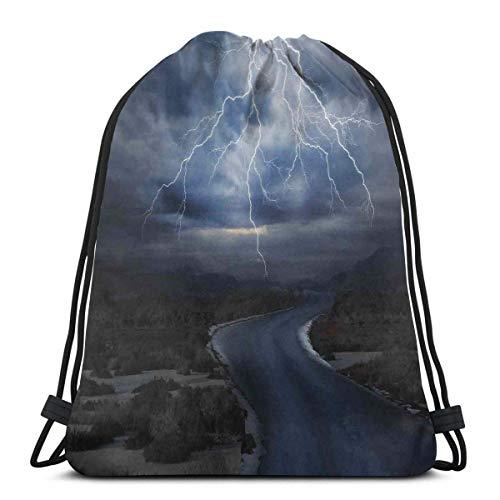Thunderstorm sopra la strada vibrante forte fascio prima del cielo soffia tempo immagine, chiusura regolabile stringa stampato coulisse zaini borse