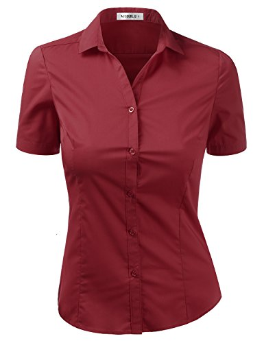 Doublju Womens Slim Fit Plain Classic Short Sleeve Button Down Collar Shirt Blouse Burgundy M