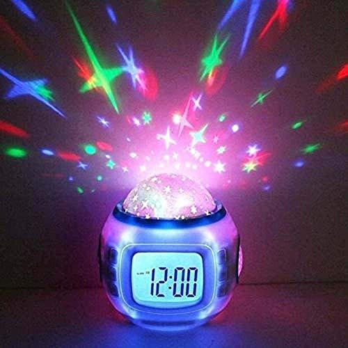 WJJH Noche luz de la Noche luz del proyector Estrellado de Alarma de Despertador Habitación Niños Calendario luz del proyector de 2020 Nueva decoración del Dormitorio,Blanco