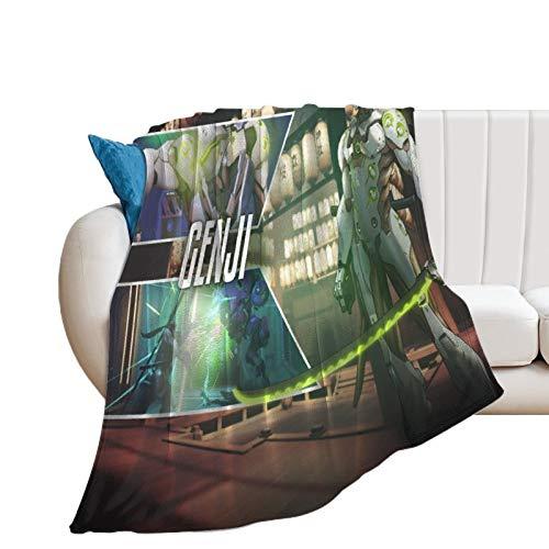 Manta ultra suave y cálida para camping Overwatch OW Game Genji adecuada para adultos y niños para usar manta suave de 180 x 200 cm