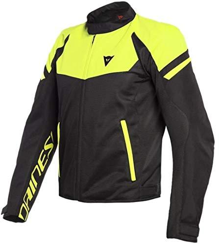 DAINESE Bora Air Tex Jacket Giacca Moto Estiva con protezioni, Nero/Giallo Fluo, 54