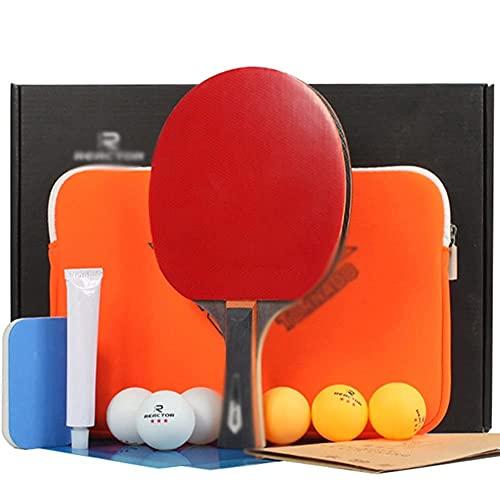 JIANGCJ bajo Precio. Ping Pong Paddle - 1 Pro Premium Table Tennis Racket, 6 Pelotas de Tenis de Mesa, Raqueta de Juego de recreación Profesional, Murciélago de Entrenamiento de práctica