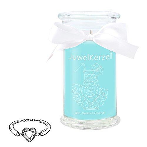 JuwelKerze Sun, Beach & Cocktail - Kerze im Glas mit Schmuck - Große Blaue Duftkerze mit Überraschung als Geschenk für Sie (Silber Armband, Brenndauer : 90-125 Stunden)