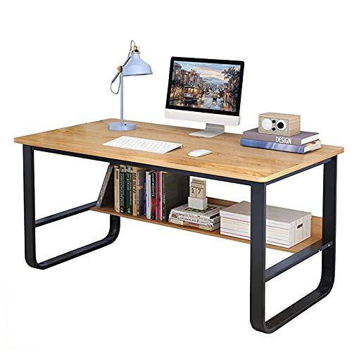 Escritorio de computadora con estantería Escritorio de estudio de oficina en casa de 39,4 pulgadas Mesa industrial simple para PC Pequeña estación de trabajo Escritorio para Adultos Adolescentes Niños