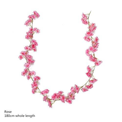 BAYUE 3 stuks 180 cm kersenbloesem rotan roze Sakura bloemen-kop-kunst krans bloemenwijnwijnstok voor bruiloft muur Game Decoratie