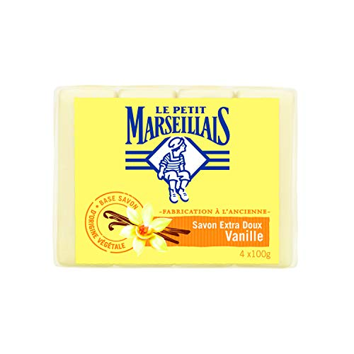 Le Petit Marseillais Seife Solide Vanille – antibakterielle Wirkung – 4 x 100 g
