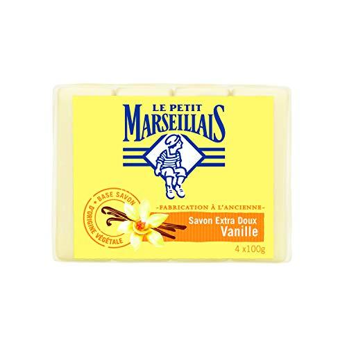 Juego de 4jabones extra suaves de vainilla 100gr Le Petit Marseillais,lote de 5 unidades