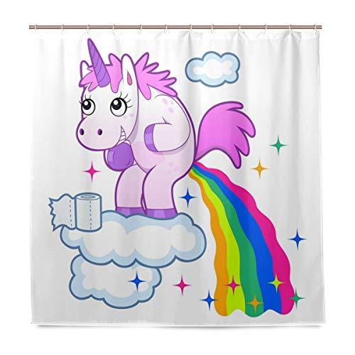 Wamika Badezimmer-Duschvorhang mit lächelndem Einhorn, Regenbogen-Design, strapazierfähiger Stoff, schimmelresistent, wasserdicht, mit 12 Haken, 183,0 cm x 183,0 cm