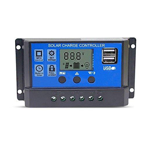 Hinmay - Controlador de carga solar, 10 A/20 A/30 A, regulador de carga inteligente, puerto USB, protección de sobrecarga de pantalla LCD, Corriente de carga: 30 A azul.