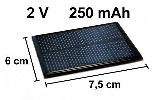edi-tronic Solarzelle 2V 250mAh NEU Solar Zelle Solarmodul 7,5cm x 6cm Mini Panel