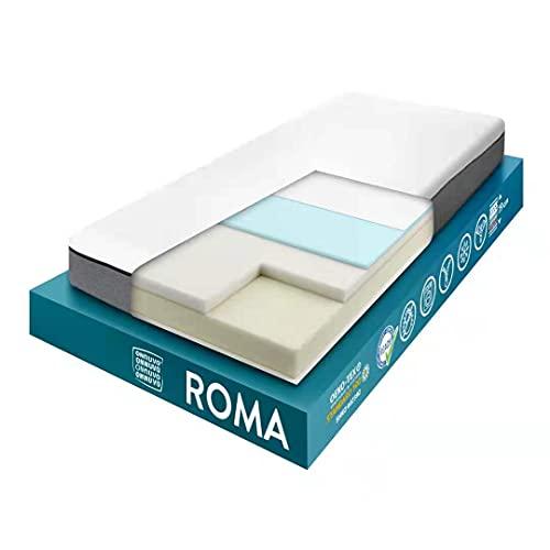 OnNuvo Materasso New Memory Foam + Gel, 19 cm, Ortopedico, Alta Densità 50-55 kg/m3, AirTeachFoam+, Ipoallergenico, Ergonomico, Certificato, Sfoderabile, Lavabile, Roma (80x190)