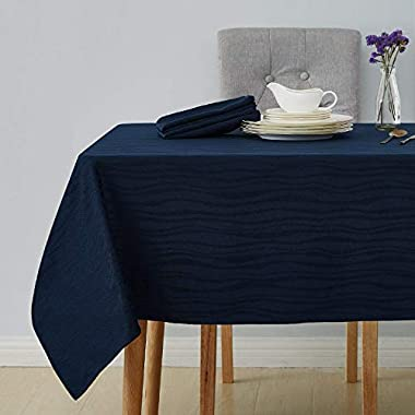Deconovo Decorative Jacquard Tablecloth Vibrant Waves Wrinkle and Water Resistant Spill-Proof Rectangle Tablecloths for Wedding Decoration 60 x 102 inch Navy Blue