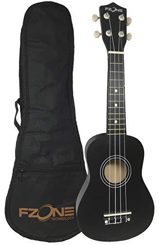 Ukelele soprano FZone UK02SB5-BK con funda acolchada en color negro - rockmusic