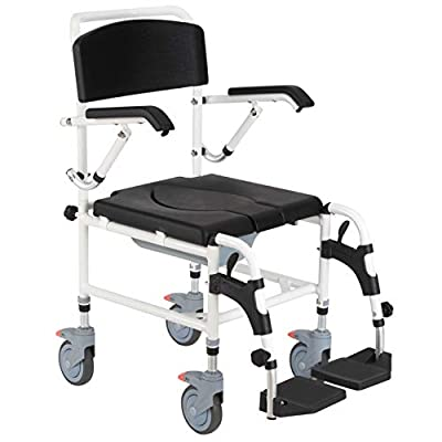 HOMCOM Accessibility Commode Wheelchair with 4 Castor Wheels, Rectangle Detachable Bucket, Waterproof Design Black