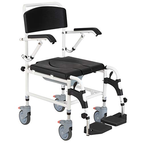 HOMCOM Accessibility Commode Wheelchair with 4 Castor Wheels, Rectangle Detachable Bucket, & Waterproof Design, Black