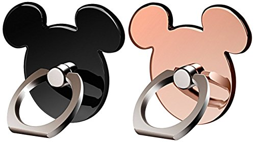 Cartoon Phone Ring Stand Holder (BLACK&ROSEGOLD) 360 Rotation Cell Phone Grip for Apple Iphone X/8 7 Plus 6 6S 5 5S Samsung Galaxy Note, Tablet and Ipad pipigo[2 Pack]