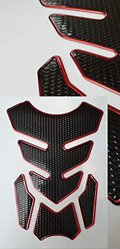 Protector para depósito de moto con aspecto de carbono, color rojo y negro, universal