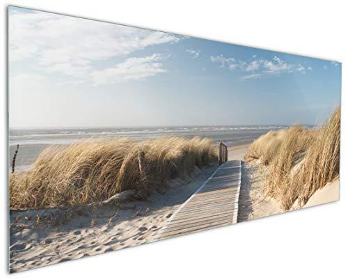 Wallario Küchenrückwand aus Glas, in Premium Qualität, Motiv: Auf dem Holzweg zum Strand | Spritzschutz | abwischbar | pflegeleicht