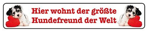 Blechwaren Fabrik Braunschweig GmbH Hier wohnt le plus grand ami le monde pour chien plaque de rue en fer-blanc 16 x 3,5 cm Str magnétique de 25 m