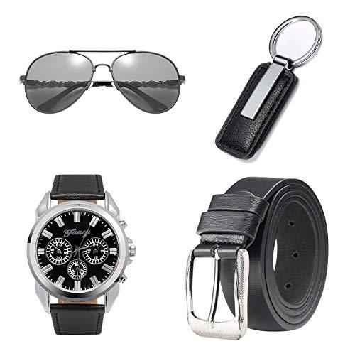 BSTcentelha Herren-Armbanduhr, Kunstleder, Quarz, analog, Gürtel, Schlüsselanhänger, Sonnenbrille, Geschenkset, Dunkelblau Perfektes Geschenk zum Valentinstag