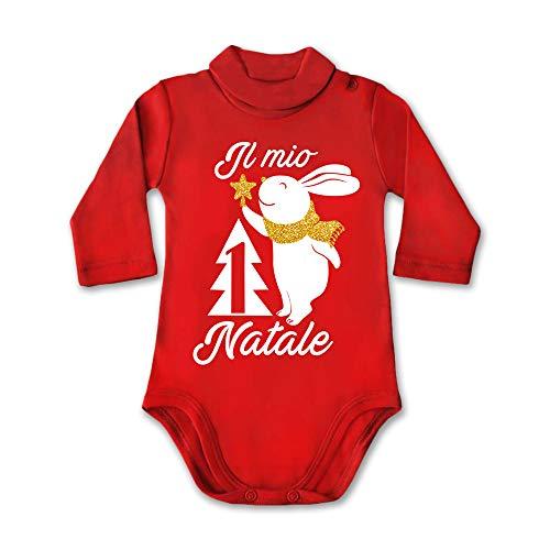 Body Lupetto Neonato Bambino Bodino Natalizio Natale Coniglietto Il Mio Primo Natale 6 Mesi Manica Lunga Rosso