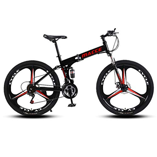 Tx Adult Folding Mountain Bike, 21-Speed Durable Heavy Duty Mountain Trail Bike, 26'' High Carbon Steel Outroad Bicycles, Full Suspension MTB Gears Dual Disc Brakes Mountain Bicycle