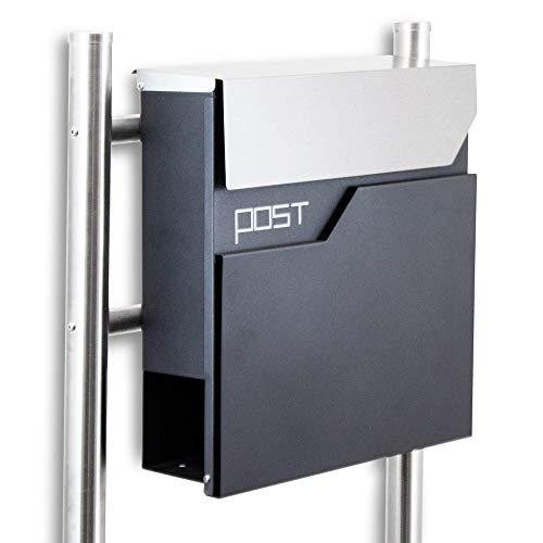 BITUXX® Design Standbriefkasten 16771 Briefkasten Briefkastenanlage Freistehender Postkasten mit Zeitungsfach Anthrazit Graphit Edelstahl