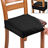 BUYUE Fast Installation Dining Chair Covers, Jacquard Stretch Seat Covers for Kitchen, Upholstered Armless Chairs Slipcovers, Universal, Set of 4, Black