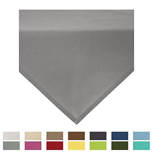 REDBEST Mitteldecke, Tischdecke Uni Seattle, 100% Baumwolle - Robustes, glattes Gewebe, mit hochwertigem Kuvertsaum, grau Größe 100x100 cm (weitere Farben, Größen)
