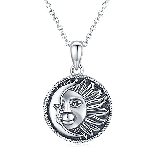 Collar con medallón de sol y luna celestial que sostiene fotos de plata de ley 925 con colgante de medallón de fotos para mujeres y niñas