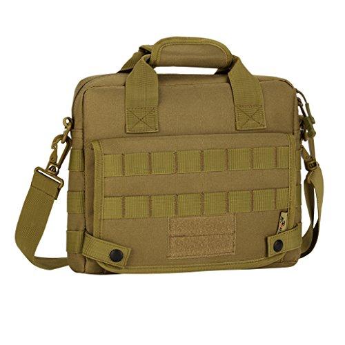 Multifunktionell wasserdichte für 10 Zoll Laptop/Tablet/MacBook Computer Tasche, Taktische und militärische für Herren Männer Molle Schultertasche - Khaki