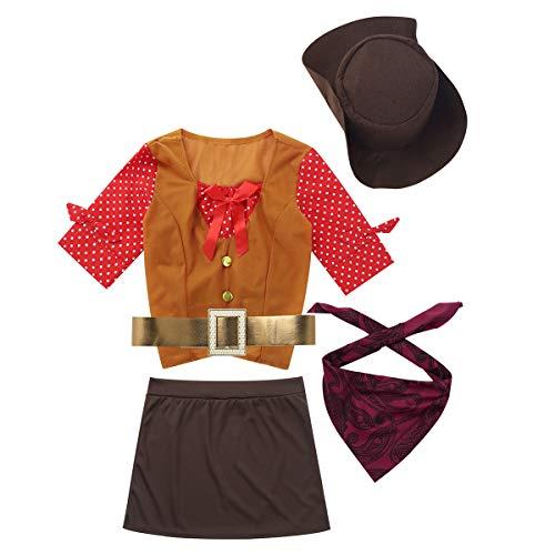 Agoky Kinder Mädchen Western Cowgirl Kostüm Halloween Cosplay Outfit Polka Dots Halbarm Tops mit Minirock Hut Bandana Gürtel Gelb&Braun 104-110/4-5 Jahre