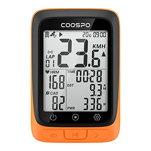 COOSPO BC107 GPS Ciclismo Ordenador Inalámbrico Ciclocomputador Computadora Bicicleta Impermeable, Bluetooth  Ant+, Pantalla LCD de 2,3 Pulgadas