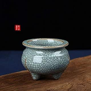 PHILOGOD Ceramic Incense Stick Burner Coil Incense Holder (green-2-black line)